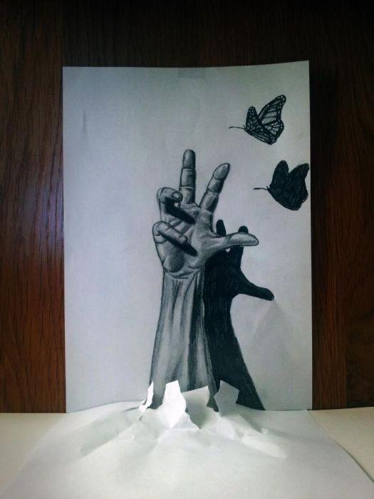 3D ranka ir drugeliai